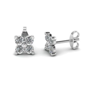 Karing Diamond Four Leaf Stud Earrings