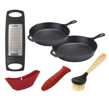 Lodge 6-Piece Cast Iron Dual Skillet Cooking Bundle