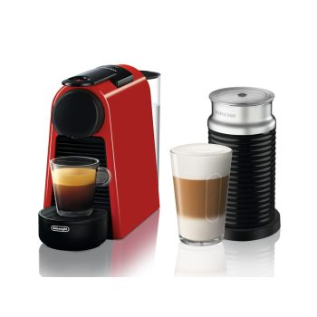 Nespresso Essenza Mini Espresso Machine with Aeroccino - Red