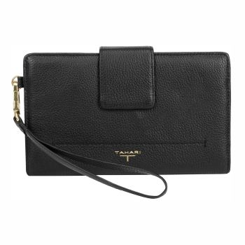 Tahari Sienna Deluxe Clutch Leather Wristlet Wallet - Black