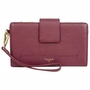 Tahari Sienna Deluxe Clutch Leather Wristlet Wallet - Oxblood