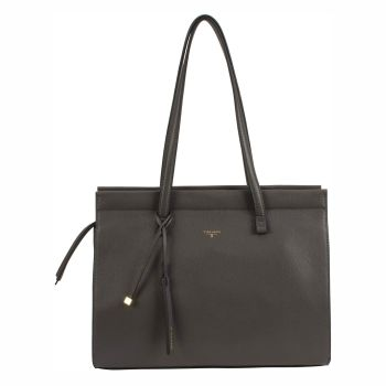 Tahari Sienna Shopper Leather Tote - Grey