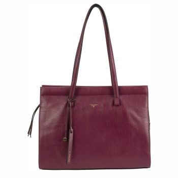 Tahari Sienna Shopper Leather Tote - Oxblood