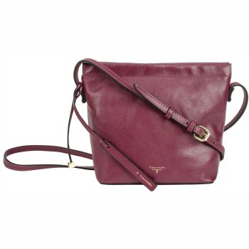 Tahari Sienna Bucket Leather Crossbody Bag - Oxblood