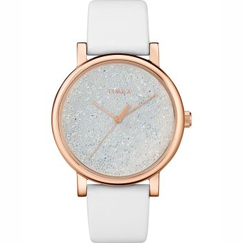 Timex Crystal Opulence With Swarovski® Crystals 38mm Leather Strap Women's Watch - Gold Tone/White