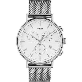Timex Fairfield Chronograph 41mm Mesh Band Men's Watch - Silver Tone/White