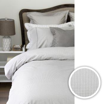Cuddle Down Taylor Egyptian Cotton Sateen 5-Piece Duvet Cover Set - Grey/White - Queen
