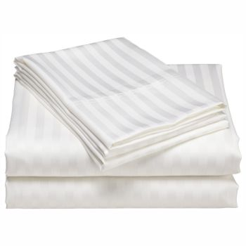 North Home Dobby Jaquard Elite 500 Thread Count 100% Egyptian Cotton 4-Piece Sheet Set - White - Queen