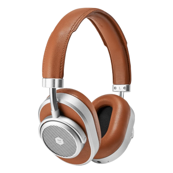 Master & Dynamic MW65 Active Noise-Cancelling Wireless Headphones - Silver Metal/Brown Leather