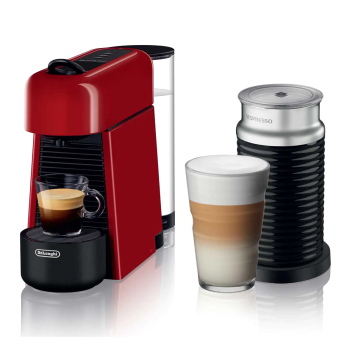 Nespresso Essenza Plus Machine with Aeroccino by De'Longhi - Shiny Red