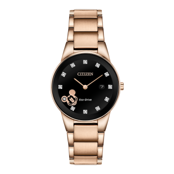Citizen Mickey Mouse Ladies Eco-Drive Rose Gold Black Dial Watch