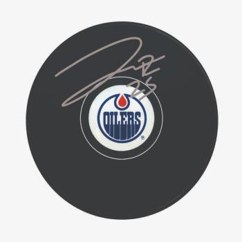 Frameworth Darnell Nurse Signed Puck Oilers Logo