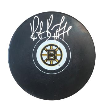 Frameworth Ray Bourque Signed Puck Bruins Logo