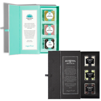 "Sugarfina® Candy Bento Box Set - Casamigos ""You Had Me At Tequila"" 3-Piece Candy Bento Box and Aviation Gin 3-Piece Candy Bento Box"
