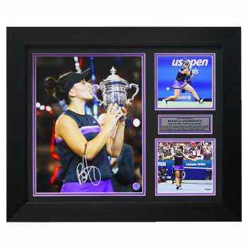A.J. Sportsworld Bianca Andreescu Autographed 2019 US Open Tennis Finals Collage 20x24 Frame