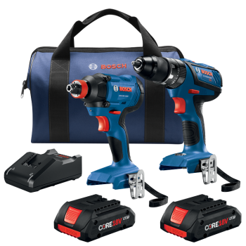 Bosch GXL18V-239B25 18V 2-Tool Combo Kit with Compact Tough 1/2 In. Hammer Drill/Driver, 1/4 In. and 1/2 In. Two-In-One Bit/Socket Impact Driver and (2) CORE18V 4.0 Ah Compact Batteries