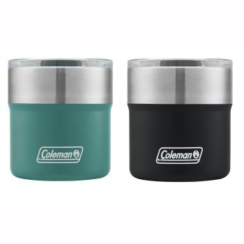 Coleman 4-Piece Sundowner Insulated Stainless Steel Rocks Glass with Slidable Lid - 2x Seafoam and 2x Black