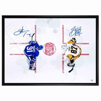 Frameworth Sidney Crosby/John Tavares Dual Signed 20 x 29 Canvas Framed Overhead - Leafs vs. Penguins