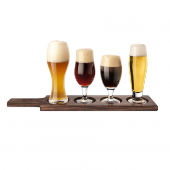 Final Touch Dark Wood 6 Piece Beer Tasting Paddle Set