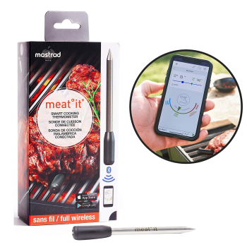 MeatIt® by Mastrad Wireless Smart Meat Thermometer - Black