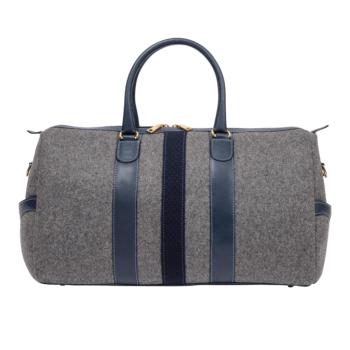 Monte & Coe Wool Weekender Bag - Grey & Navy