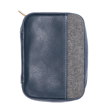 Monte & Coe Leather Passport Holder - Navy & Grey