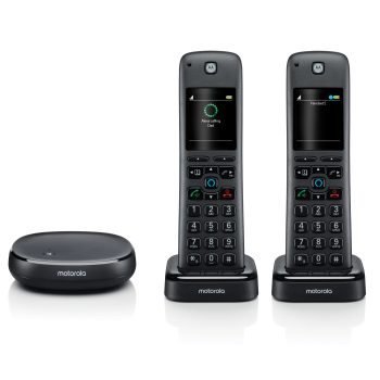 Motorola Smart Wireless Home Telephone System with Alexa Built-in and Speaker Phone - 2 Handset