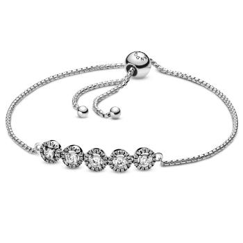 Pandora Round Sparkle Slider Bracelet - Silver