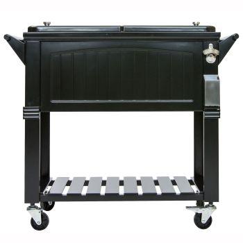 Permasteel 80-Quart Imitation Antique Patio Cooler - Black