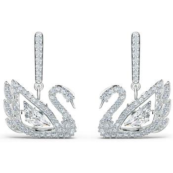 Swarovski Dancing Swan Pierced Earrings - White