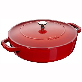 Staub Cast Iron 4-Quart Chistera Drop Braiser - Cherry