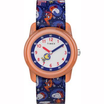 Timex X Space Snoopy - Kids Analog Elastic Fabric Strap Watch - Orange/Blue
