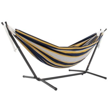Vivere Double Cotton Hammock With 9 Ft. Stand & Carry Bag - Serenity