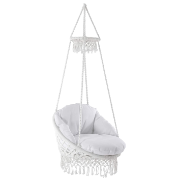 Vivere Polyester Deluxe  Macrame Chair with Fringe and Pillow