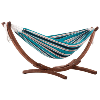 Vivere Double Sunbrella® Hammock with Solid Pine Arc Stand - Token Surfside