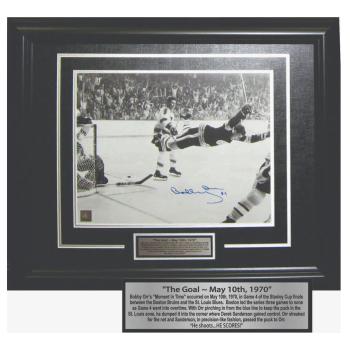 Frameworth Bobby Orr Signed 11x14 Framed Bruins The Goal - Black/White