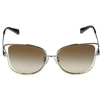 Coach L1108 Wire Frame Butterfly Sunglasses -Shiny Brown/Silver/Light Frames with Smoke Gradient Lens