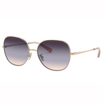 Coach L1111 Wire Frame Round Sunglasses - Shiny Rose Gold/Shiny Silver Frames and Smoke Blue Pink Gradient Lens