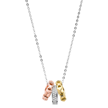 Michael Kors Mercer Tri-Tone Ring Pendant Necklace