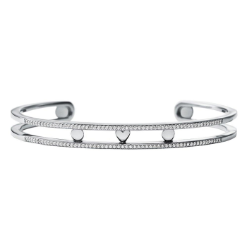 Michael Kors Custom Kors Silver Cubic Zirconia Nesting Bangle