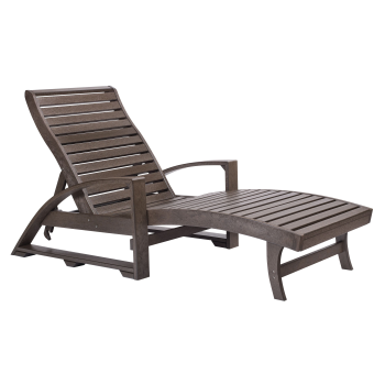 C.R. Plastic St. Tropez Chaise Lounge with Hidden Wheels - Chocolate