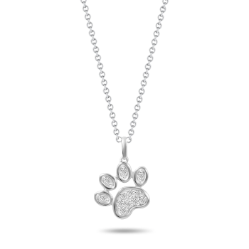 Brooklyn Lights Dog Paw Pendant - Silver with Diamonds
