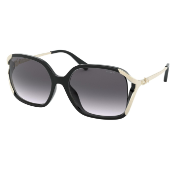 Coach L1116 Oversized Horse and Carriage Sunglasses - Black Frame with Grey Gradient Lens