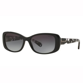Coach L156 Rectangular Sunglasses - Black/Black Crystal Mosaic Frames with Light Grey Gradient Lens