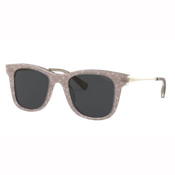 Coach L1135 Signature Glitter Metal Square Sunglasses -  with Transparent Smoke Sig C Frame and Gray Solid Lens