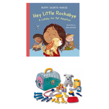 Hey Little Rockabye: A Lullaby for Pet Adoption by Buffy Sainte-Marie with My Pet Vet Centre Bundle