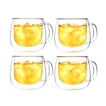 Grosche® Fresno Double Wall Glass Mug - Set of 4