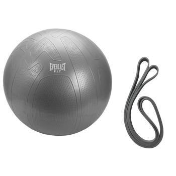 Everlast 75cm Pro Grip Burst Resistant Fitness Ball and Medium Resistance Power Band Bundle