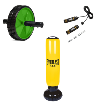 Everlast Ab Toning Wheel, 2lb Weighted Jump Rope and Power Tower Bundle
