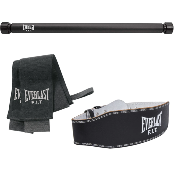 Everlast Chin and Sit Up Bar, Wrist Support and Leather Weightlifting Belt Bundle